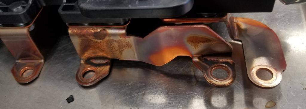 copper bus bar discolored from overheating