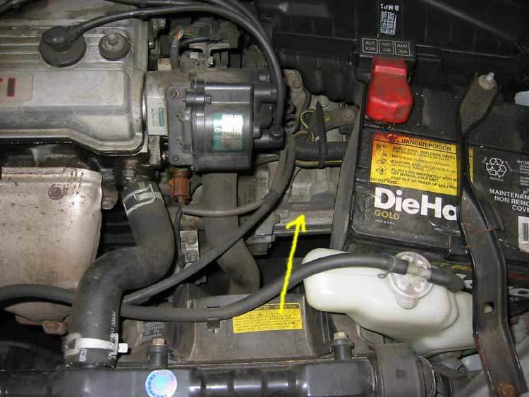 Transmission hidden by other car parts
