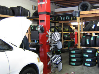 alignment rack and tires