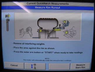 Hunter balance machine showing rim runout testing