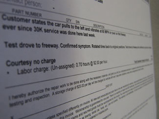 artsy picture of a auto repair order