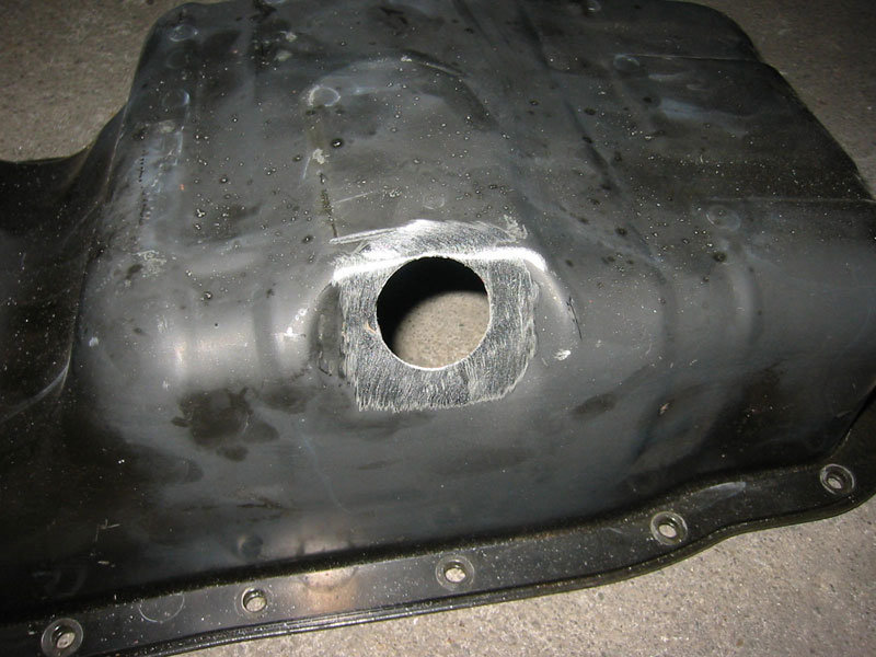 Honda oil pan with drain plug threads removed