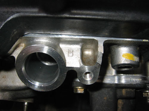 """B"" marked on honda cylinder head casting"