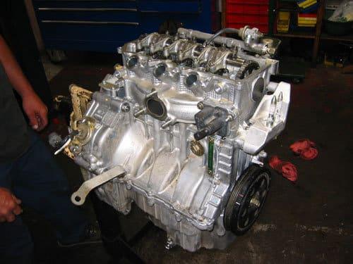 Shiny Honda engine on a stand
