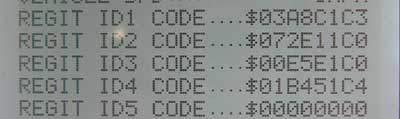 TPMS ID numbers on screen