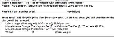 TPMS charge on a repair order