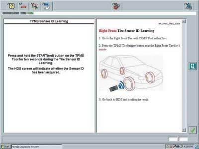 Honda TPMS registration instruction from the service manual