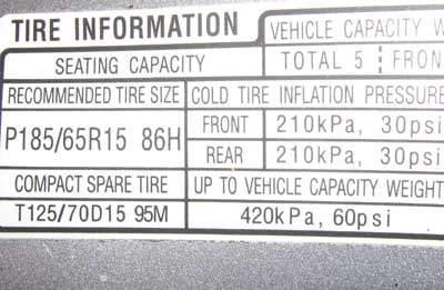 TPMS inflation sticker