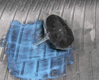Internal tire patch repair with integral plug