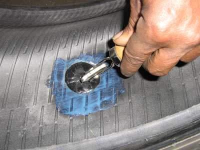 stitching a tire patch