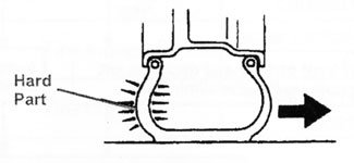drawing of crosssection of tire with a stiff sidewall on one side only
