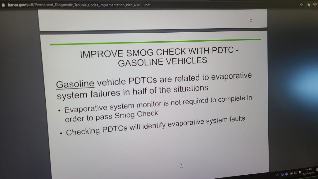 Slide from BAR presentation stating EVAP monitor doesn't need to be complete to pass smog