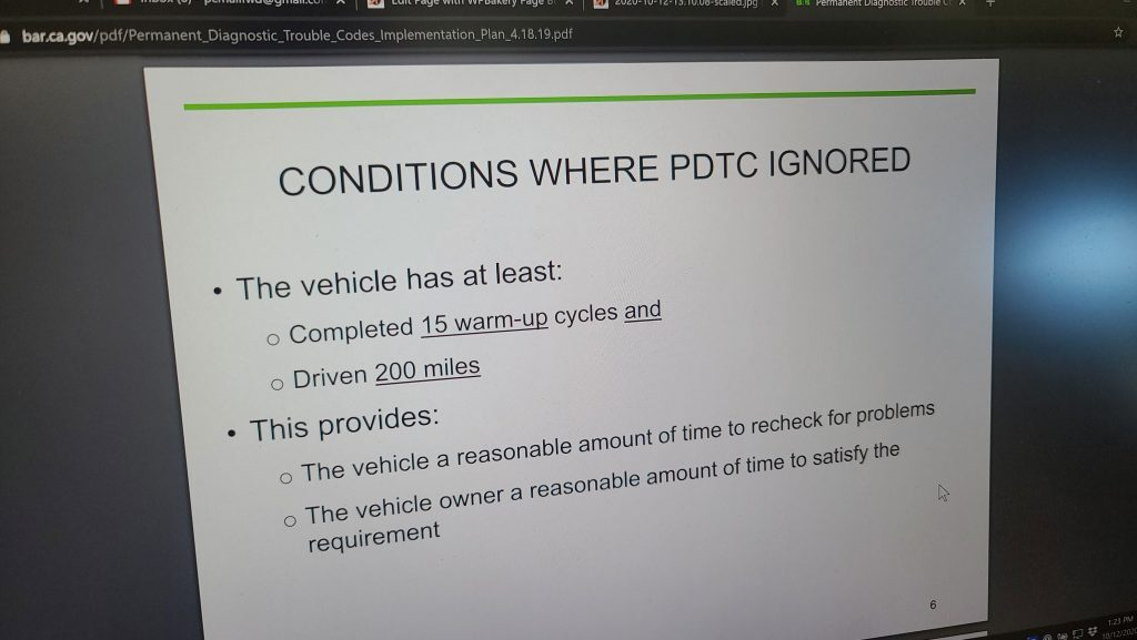 BAR presentation slide saying PDTC will be ignored after 15 warm-up cycles and 200 miles.