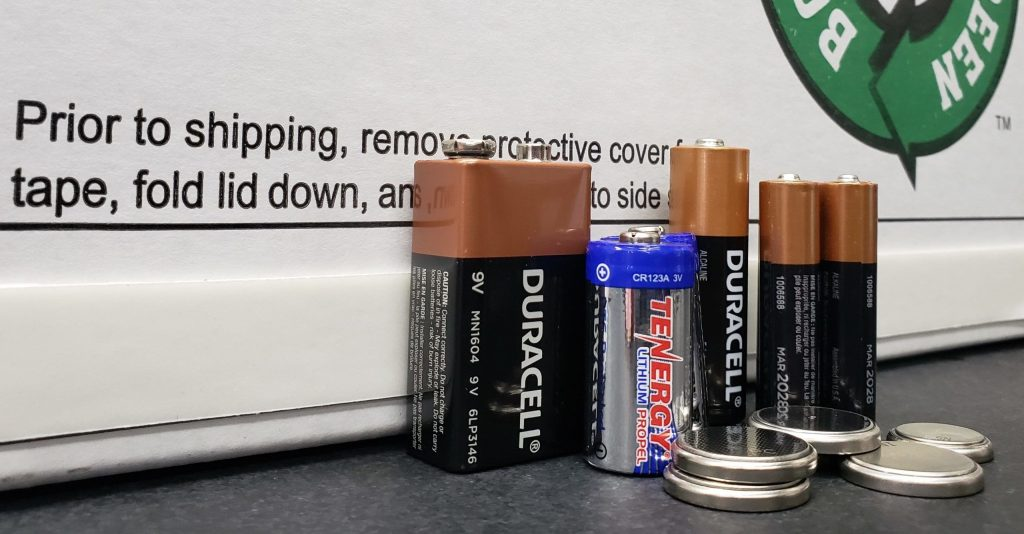 Used batteries ready for recycling