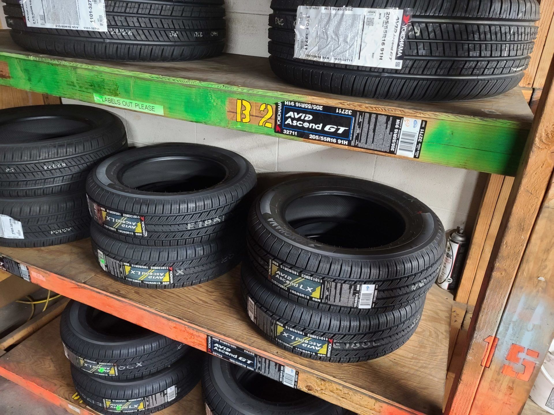 New Yokohama tires sitting on shelves