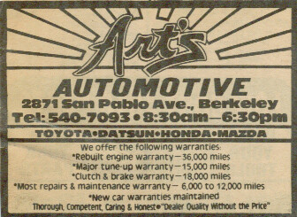 A very old yellow pages advertisement for Art's Automotive with the slogan -- Thorough, Competent, Caring and Honest -- Dealer Quality Without the Price