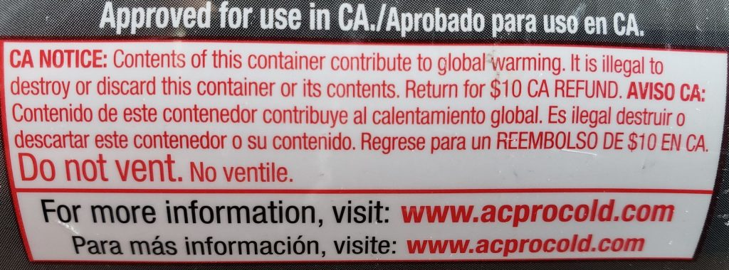 A label that states R134a causes global warning