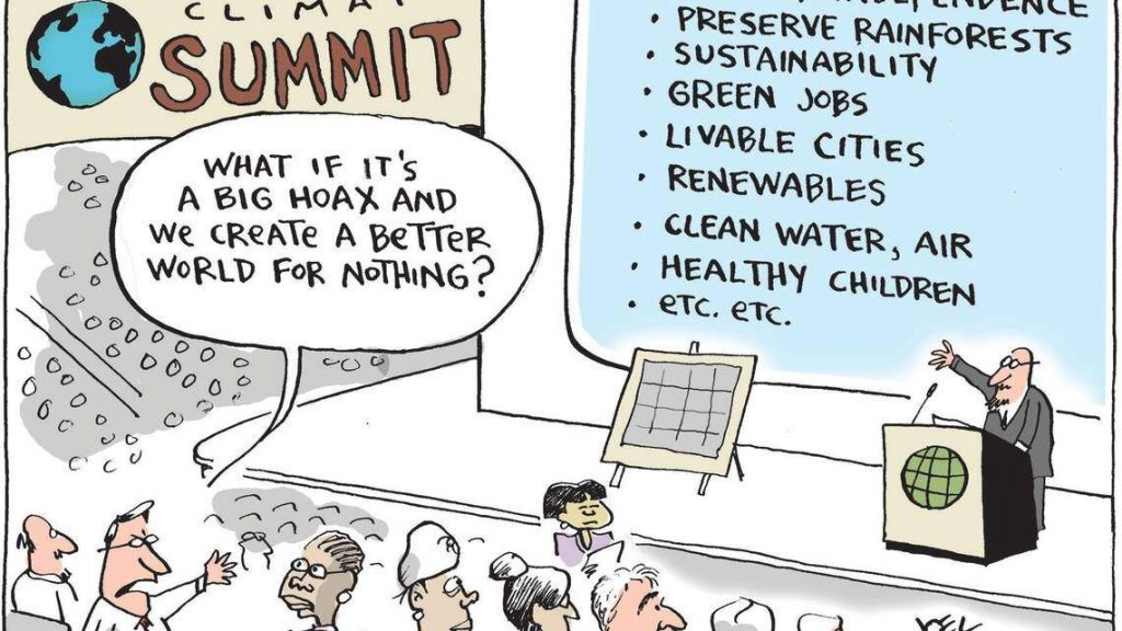 Jeol Pett Climate Summit Cartoon. A presentation screen lists all of the benefits of behaving in an environmentally responsible manner, and a balloon over an audience member's head says, What if it's a big hoax and we create a better world for nothing?