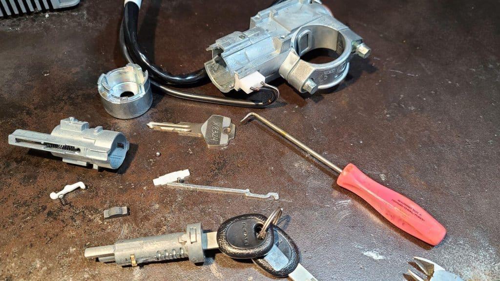 Subaru ignition lock disassembled awaiting re-keying