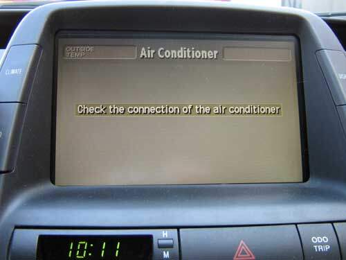 "Prius multi-display error ""Check the connection of the air conditioner"""