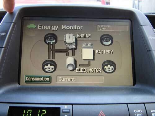 Prius multi-display in power flow mode showing no data