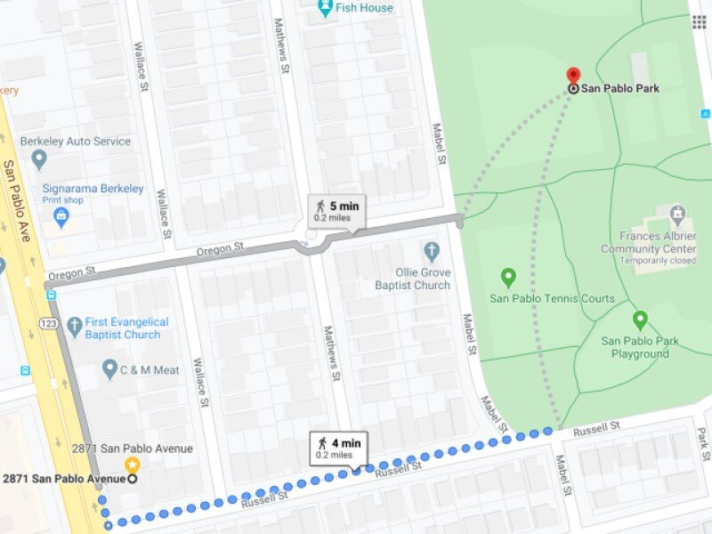 map showing walking route from arts automotive to san pablo park