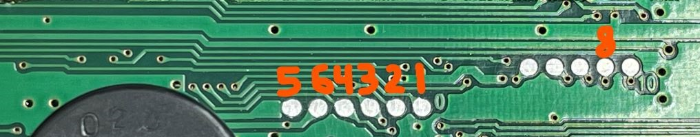 Test points with hand-drawn number identifying which EEPROM pins they go to.