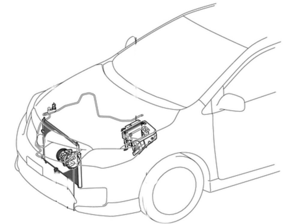 Drawing of Toyota air conditioning parts locations