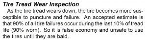 Picture of text in a service manual saying that 90% of tire punctures occur in the last 10% of tread life
