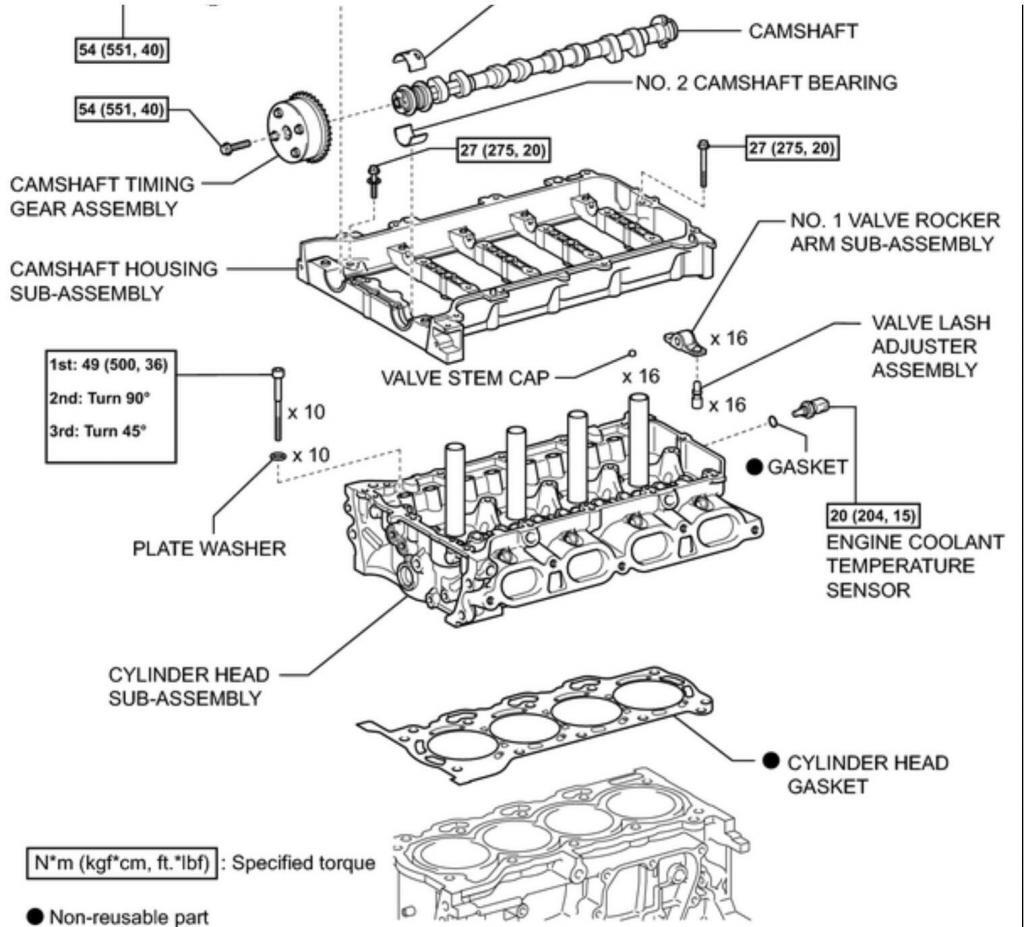 line drawing, exploded view of Prius engine