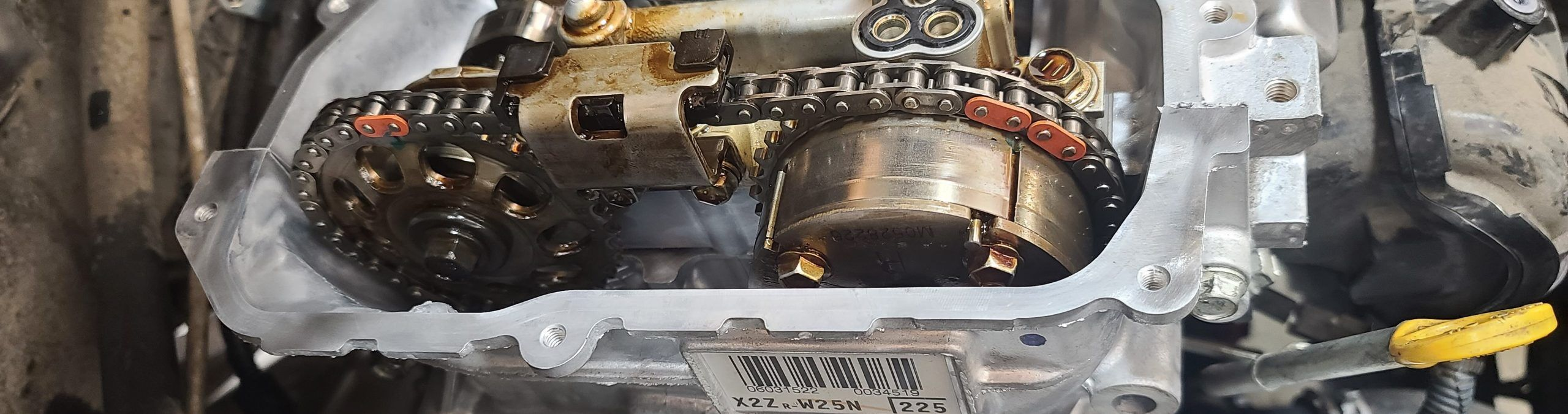 Prius cylinder head with valve cover off and timing marks visible