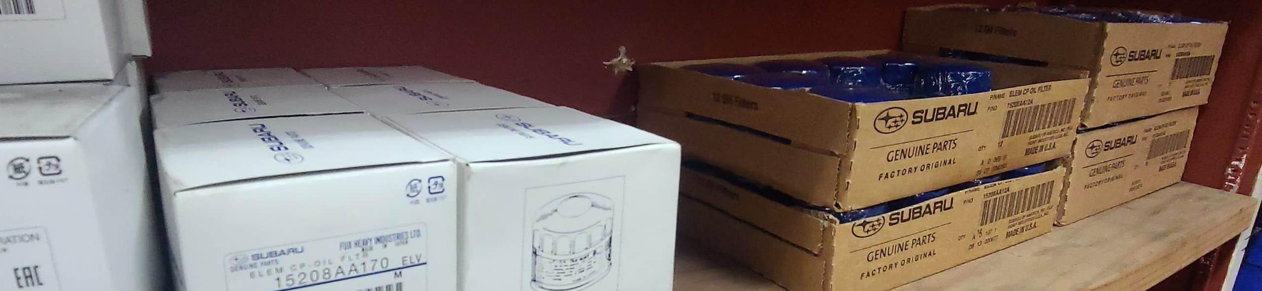 boxes of Subaru oil filters
